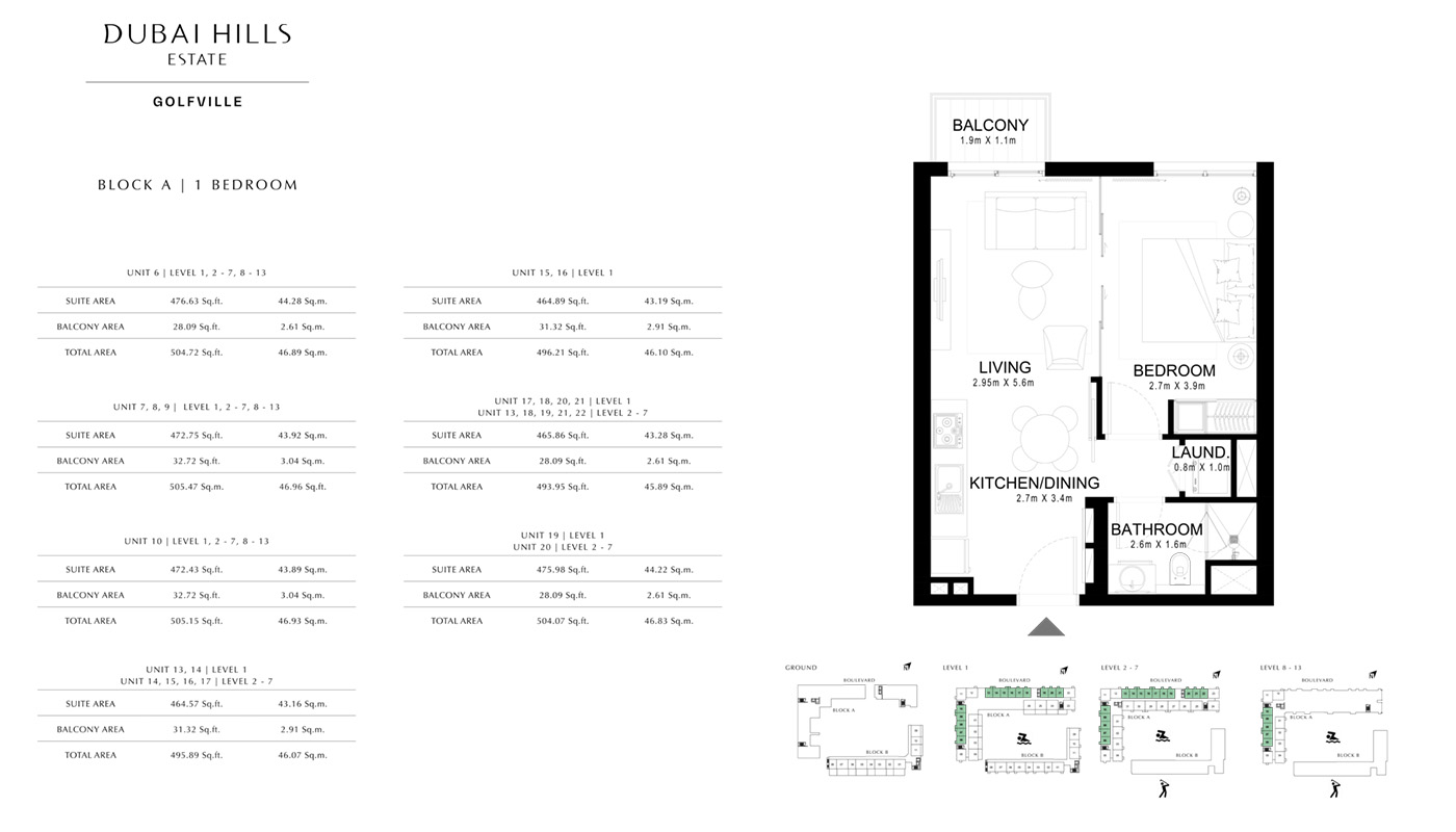 1 Bedroom, Type-3A, Level-1, Size-745.19 sq.ft